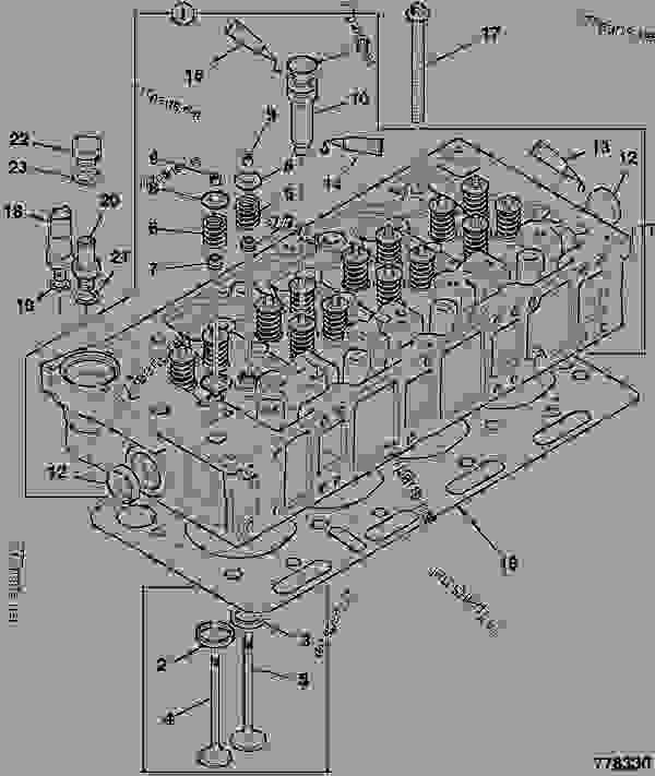 零件的略图 CYLINDER HEAD, ASSEMBLY - ITL JCB 320/40205 - JCB DIESELMAX OWNER PARTS CATALOGUE(OEM), 9812/2450 ENGINE 4 CYLINDER TURBOCHARGED CYLINDER HEAD CYLINDER HEAD, ASSEMBLY | 777parts