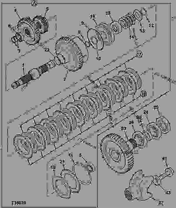 零件的略图 CLUTCH - MAINSHAFT &, COMPONENTS, 4 SPEED, 460/81920 - CONSTRUCTION JCB .SS400 - TRANSMISSIONS, 9802/1020 PS760 TRANSMISSION TRANSMISSION ASSY CLUTCH - MAINSHAFT &, COMPONENTS, 4 SPEED, 460/81920 | 777parts